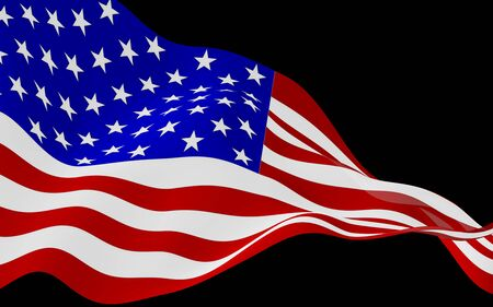 Waving flag of the United States of America on a dark background. Stars and Stripes. State symbol of the USA. 3D illustration Фото со стока
