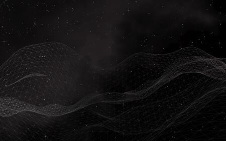 Black abstract background. Hi tech network.Outer space. Starry outer space texture. 3D illustration