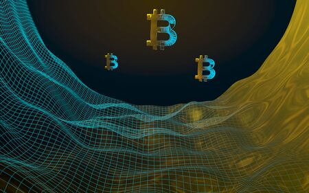 Digital currency, golden symbol Bitcoin on abstract dark background. Growth of the crypto currency market. Business, finance and technology concept. 3D illustration Imagens