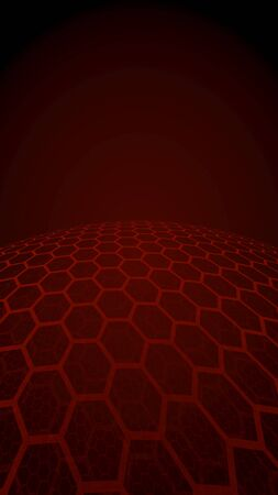 Multilayer sphere of honeycombs, red on a dark background, social network, computer network, technology, global network. 3D illustration Imagens