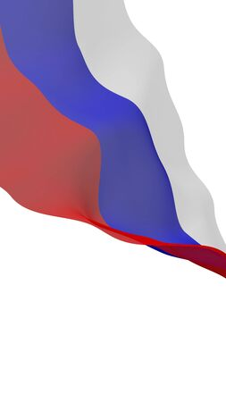 Waving flag of the Russian Federation. The National. State symbol of the Russia. 3D illustration Imagens
