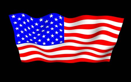 Waving flag of the United States of America on a dark background. Stars and Stripes. State symbol of the USA. 3D illustration Imagens
