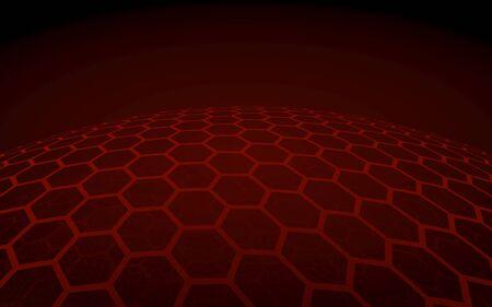 Multilayer sphere of honeycombs, red on a dark background, social network, computer network, technology, global network. 3D illustration Reklamní fotografie