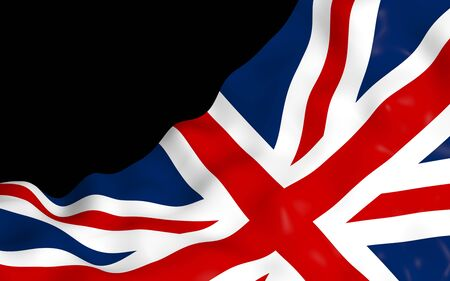 Waving flag of the Great Britain on dark background. British flag. United Kingdom of Great Britain and Northern Ireland. State symbol of the UK. 3D illustration