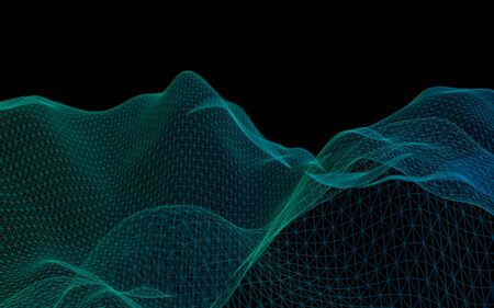 Abstract green landscape on a black background. Cyberspace grid. hi tech network. Depth of field. 3D illustration Stock fotó