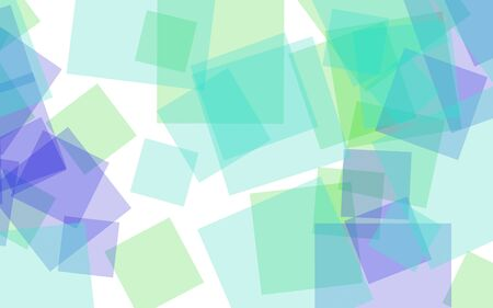 Multicolored translucent squares on white background. 3D illustration