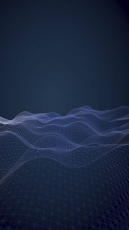 Abstract landscape on a blue background. Cyberspace grid. hi tech network. 3d technology illustration. 3D illustration