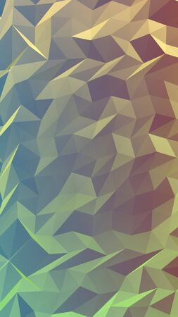 Abstract triangle geometrical green orange background. Geometric origami style with gradient. 3D illustration