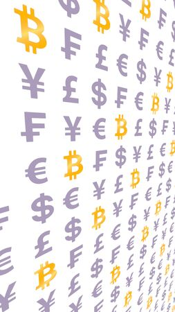 Bitcoin and currency on a white background. Digital crypto currency symbol. Wave effect, currency market fluctuations. Business concept. 3D illustration Фото со стока
