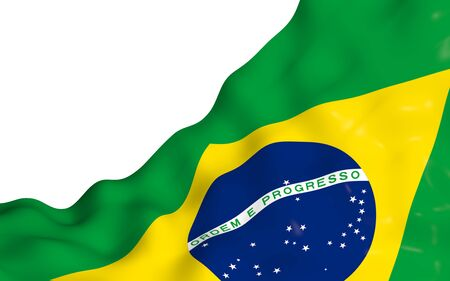 Waving flag of Brazil. Ordem e Progresso. Order and progress. Rio de Janeiro. South America. State symbol. 3d illustration