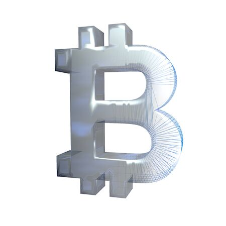 Bitcoin sign, platinum or silver turns into a blue grid on a white background. 3D illustration Imagens