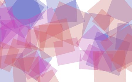 Multicolored translucent squares on white background. Red tones. 3D illustration