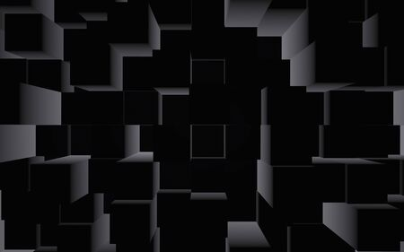 Abstract dark elegant cube geometric background. Chaotically advanced rectangular bars. 3D Rendering, 3D illustration 写真素材