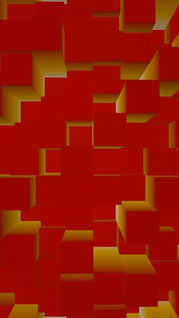 Abstract red elegant cube geometric background. Chaotically advanced rectangular bars. 3D Rendering, 3D illustration 写真素材