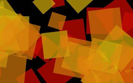 Multicolored translucent squares on dark background. 3D illustration
