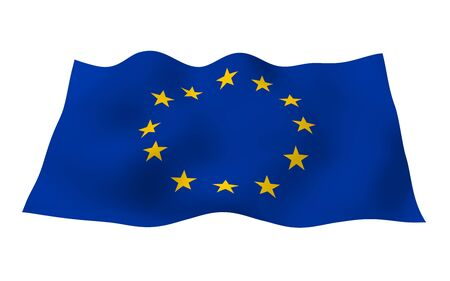 Slightly waving flag of the European Union isolated on white background, 3D rendering. Symbol of Europe. 3D illustration Фото со стока