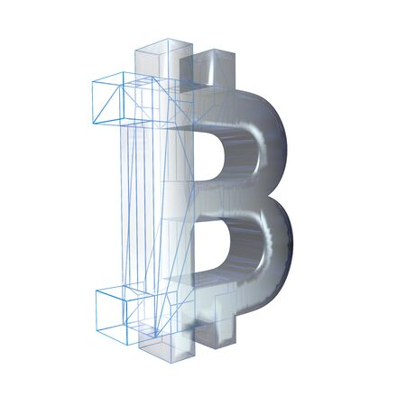 Bitcoin sign, platinum or silver turns into a blue grid on a white background. 3D illustration Banque d'images