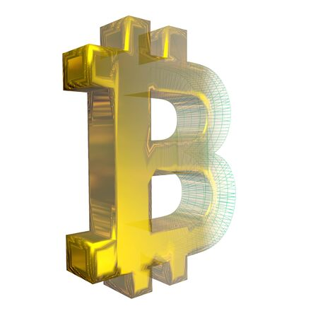 Bitcoin sign, the green grid turns into gold on white background. 3D illustration Banque d'images