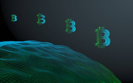 Digital currency symbol Bitcoin on abstract dark background. Drop of the crypto currency market. Business, finance and technology concept. 3D illustration