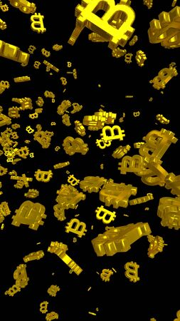 Digital currency symbol Bitcoin on a dark background. Fall of bitcoin. crypto currency graph on virtual screen. Business, Finance and technology concept. 3D illustration