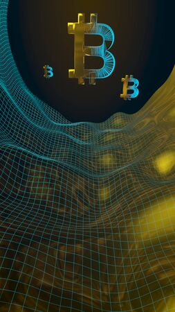 Digital currency, golden symbol Bitcoin on abstract dark background. Growth of the crypto currency market. Business, finance and technology concept. 3D illustration Banque d'images