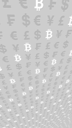 Bitcoin and currency on a gray background. Digital crypto currency symbol. Business concept. Market Display. 3D illustration