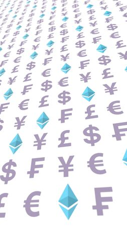 Ethereum crystal and currency on a white background. Digital crypto symbol. Business concept. 3D illustration