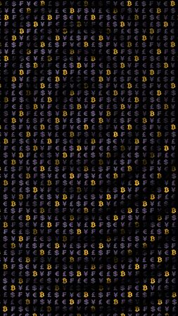 Bitcoin and currency on a dark background. Digital crypto currency symbol. Wave effect, currency market fluctuations. Business concept. 3D illustration