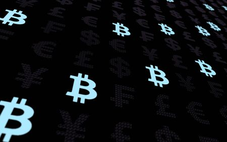 Bitcoin and currency on a dark background. Digital crypto currency symbol. Business concept. Market Display. 3D illustration