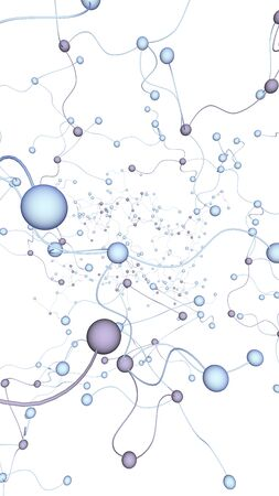 Neural network. Social network. Futuristic dna, deoxyribonucleic acid. Abstract molecule, cell illustration, mycelium. Light background. 3D illustration Reklamní fotografie