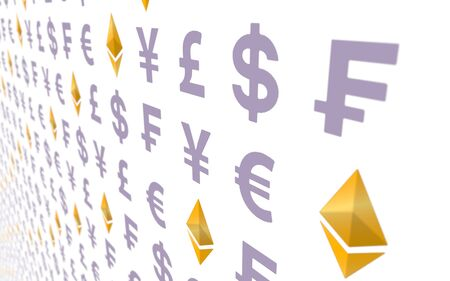 Ethereum classic and currency on a white background. Digital crypto symbol. Business concept. 3D illustration