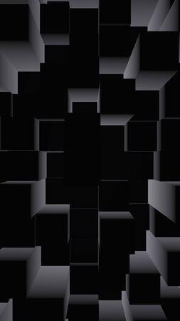 Abstract dark elegant cube geometric background. Chaotically advanced rectangular bars. 3D Rendering, 3D illustration Foto de archivo