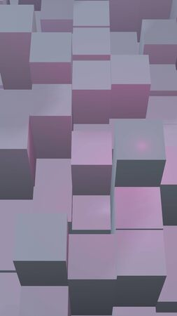 Abstract pink gray elegant cube geometric background. Chaotically advanced rectangular bars. 3D Rendering, 3D illustration