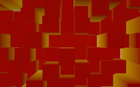 Abstract red elegant cube geometric background. Chaotically advanced rectangular bars. 3D Rendering, 3D illustration Foto de archivo