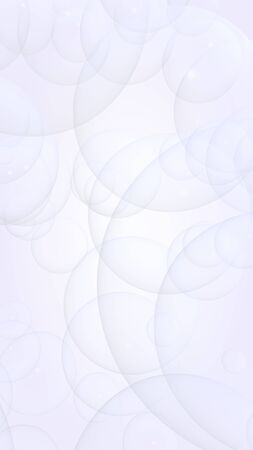 Abstract white background. Backdrop with light transparent bubbles. Vertical orientation. 3D illustration 免版税图像