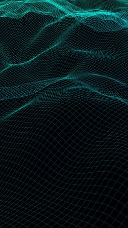 Abstract landscape background. Cyberspace green grid. hi tech network. 3D illustration. Vertical orientation