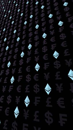 Ethereum crystal and currency on a dark background. Digital crypto currency symbol. Business concept. Market Display. 3D illustration Banque d'images