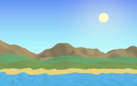 Sun Sea Beach. Noon. Ocean shore line with waves on a beach. Island beach paradise with waves. Vacation, summer, relaxation. Seascape, seashore. Minimalist landscape, primitivism. 3D illustration Reklamní fotografie