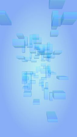 Blue and white abstract digital and technology background. The pattern with repeating rectangles. Vertical orientation. 3D illustration Zdjęcie Seryjne - 147816885