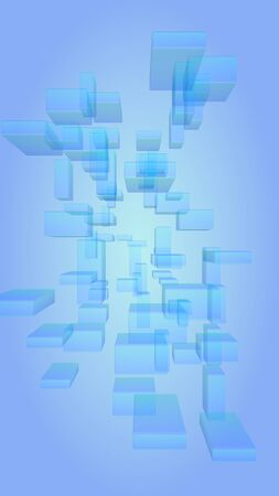 Blue and white abstract digital and technology background. The pattern with repeating rectangles. Vertical orientation. 3D illustration Zdjęcie Seryjne - 147814885