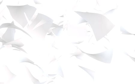 Flying sheets of paper isolated on white background. Abstract money is flying in the air. 3D illustration Imagens