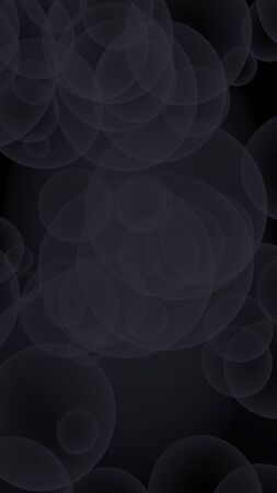 Abstract black background. Backdrop with dark transparent bubbles. Vertical orientation. 3D illustration Stock Photo