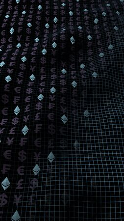 Ethereum crystal and currency on a dark background. Digital crypto currency symbol. Business concept. Market Display. 3D illustration Imagens - 147823626