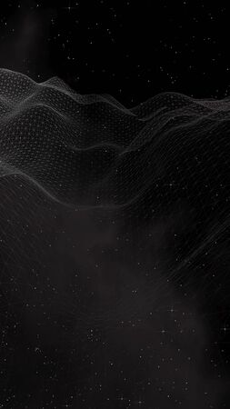 Black abstract background. Hi tech network.Outer space. Starry outer space texture. Vertical orientation. 3D illustration