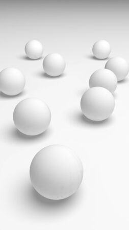 White abstract background. Set of white balls isolated on white backdrop. 3D illustration Imagens