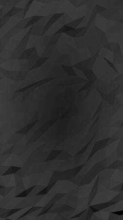 Black abstract background. Lowpoly backdrop. Gloomy crumpled paper. Vertical orientation. 3D illustration Imagens