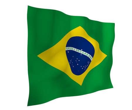 Waving flag of Brazil. Ordem e Progresso. Order and progress. Rio de Janeiro. South America. State symbol. 3d illustration