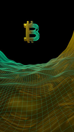 Digital currency, golden symbol Bitcoin on abstract dark background. Growth of the crypto currency market. Business, finance and technology concept. 3D illustration Stok Fotoğraf