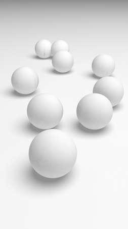 White abstract background. Set of white balls isolated on white backdrop. 3D illustration Stok Fotoğraf