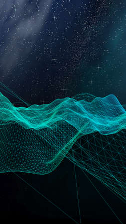 Abstract landscape on a dark background. Cyberspace grid. hi tech network. Outer space. Vertical orientation. Starry outer space texture. 3D illustration Stok Fotoğraf